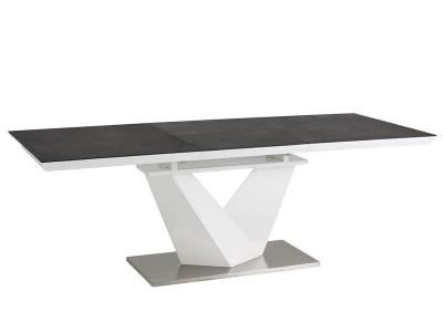 Stół rozkładany ALARAS II czarny efekt kamienia / biały lakier 120(180)X80