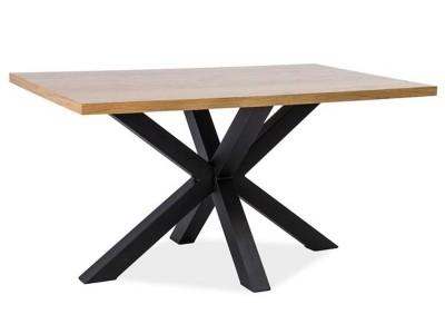 Stół CROSS okleina naturalny dąb/czarny 180x90
