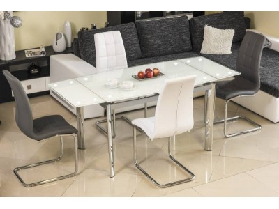 Stół rozkładany szklany GD020 biały/chrom 120(180)x80