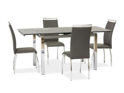 Stół szklany rozkładany GD017 szary/chrom 110(170)x74