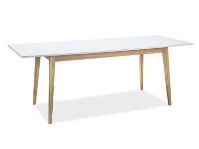 Stół rozkładany CESAR biały mat/dąb 120(165)x68