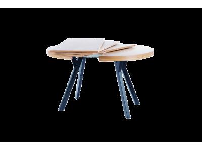 Stół rozkładany DOMINGO okleina naturalny dąb / czarny 100 - 250 cm