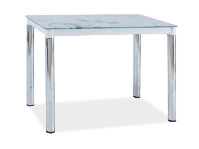 Stół szklany DAMAR II biały/chrom 100x60