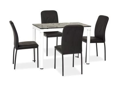Stół szklany DAMAR czarny/biały 100X60