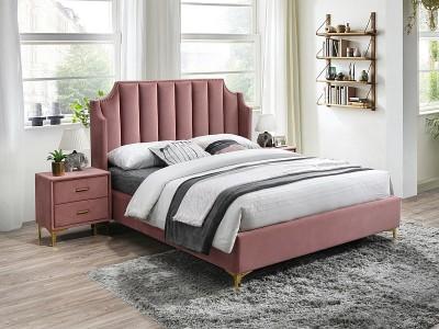 Łóżko tapicerowane MONAKO VELVET 160x200 kolor antyczny róż Bluvel 52 / złoty