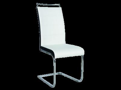 Krzesło H441 ekoskóra biały/czarny / chrom